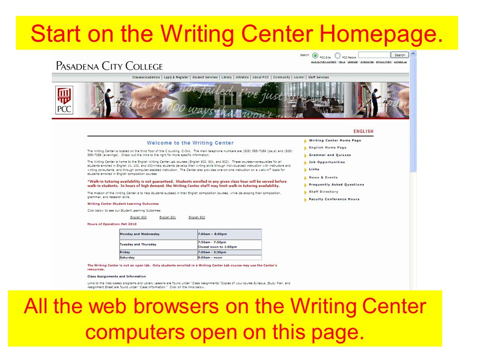 Start on the Writing Center Homepage.