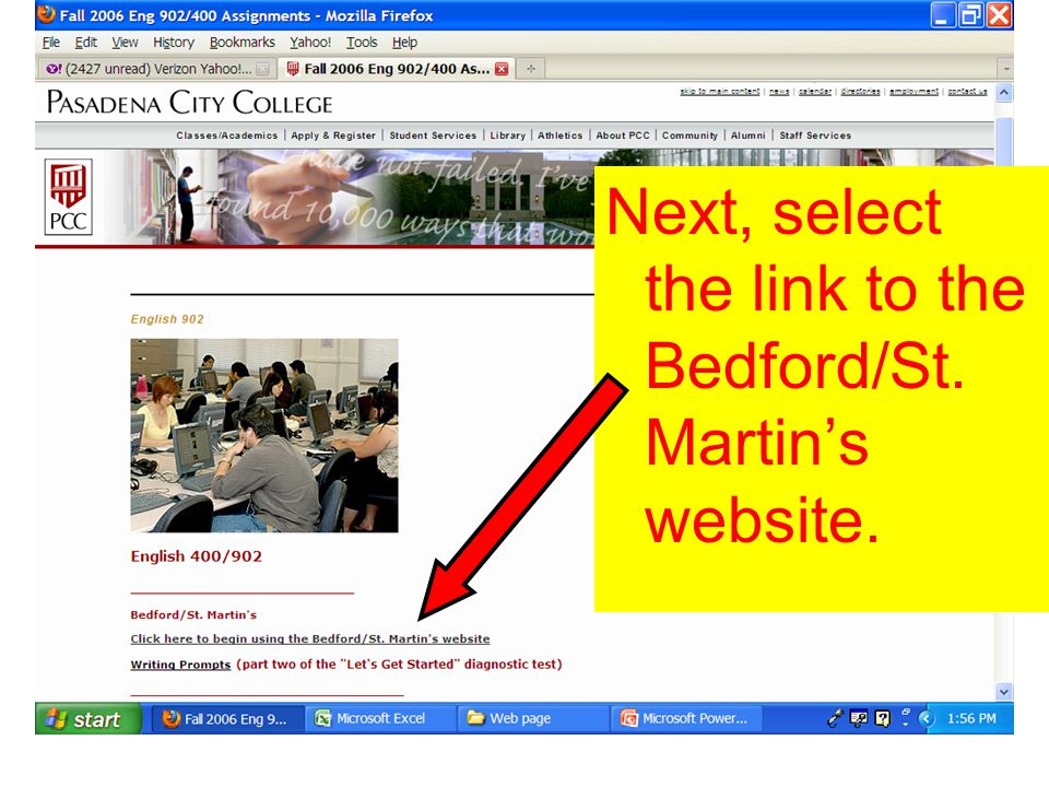 Next, select the link to the Bedford/St. Martin's website.