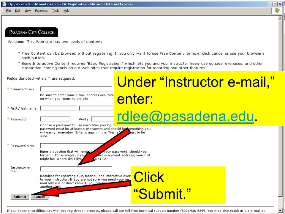 Under Instructor  , enter:  Click Submit.