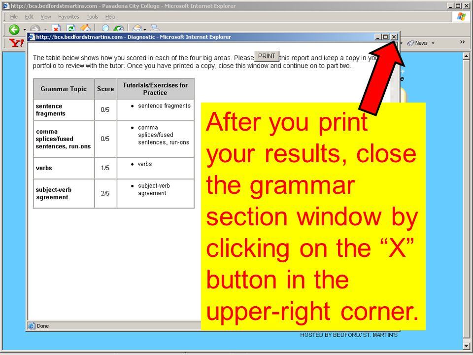 After you print your results, close the grammar section window by clicking on the X button in the upper-right corner.