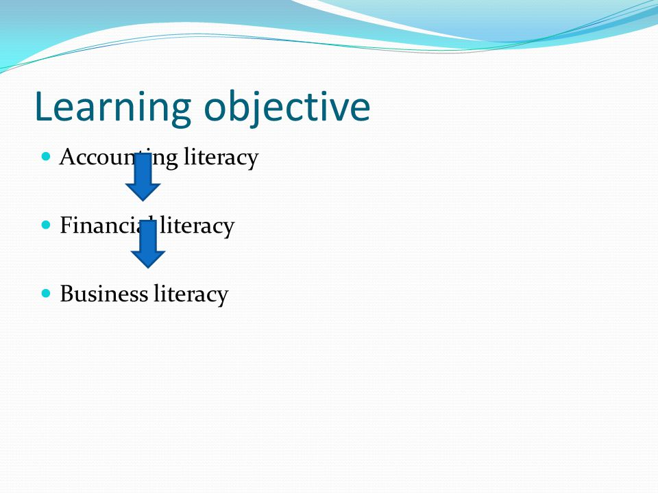 Learning objective Accounting literacy Financial literacy Business literacy