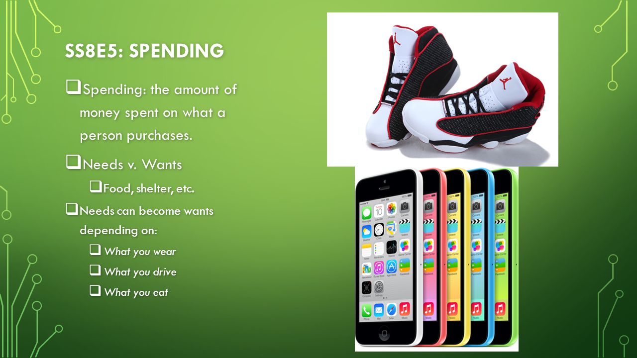 SS8E5: SPENDING  Spending: the amount of money spent on what a person purchases.