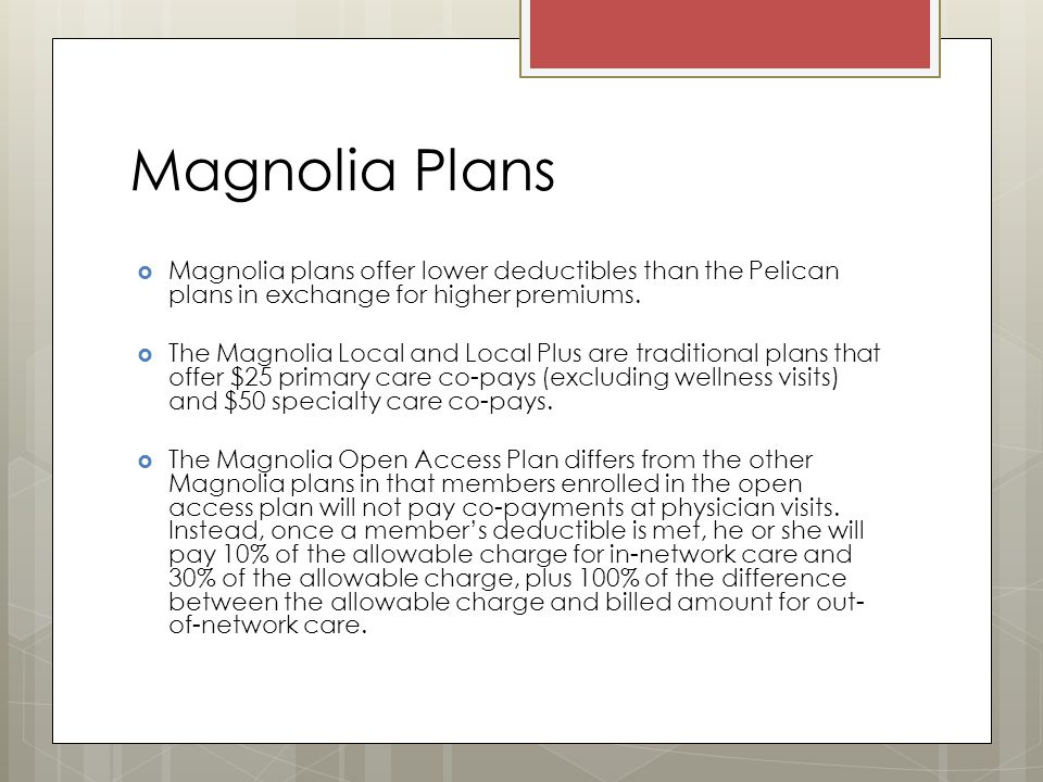 Magnolia Plans  Magnolia plans offer lower deductibles than the Pelican plans in exchange for higher premiums.