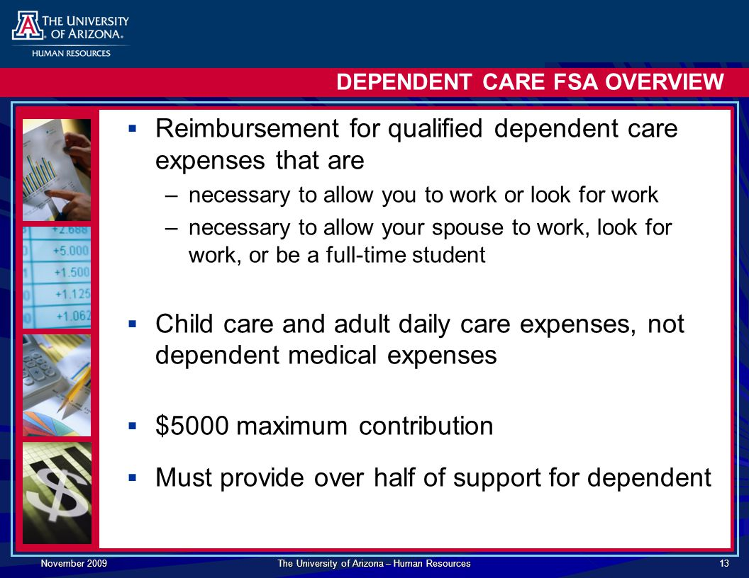 November 2009 The University of Arizona – Human Resources 13 DEPENDENT CARE FSA OVERVIEW  Reimbursement for qualified dependent care expenses that are –necessary to allow you to work or look for work –necessary to allow your spouse to work, look for work, or be a full-time student  Child care and adult daily care expenses, not dependent medical expenses  $5000 maximum contribution  Must provide over half of support for dependent