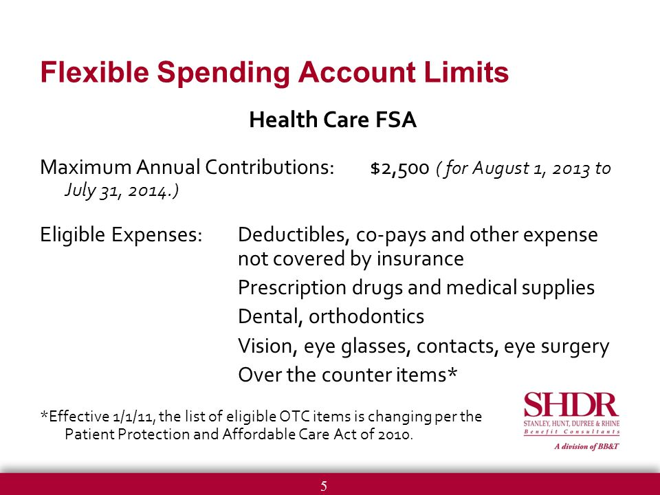 5 Flexible Spending Account Limits Health Care FSA Maximum Annual Contributions:$2,500 ( for August 1, 2013 to July 31, 2014.) Eligible Expenses:Deductibles, co-pays and other expense not covered by insurance Prescription drugs and medical supplies Dental, orthodontics Vision, eye glasses, contacts, eye surgery Over the counter items* *Effective 1/1/11, the list of eligible OTC items is changing per the Patient Protection and Affordable Care Act of 2010.