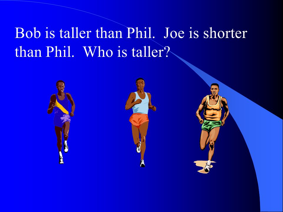 Bob is taller than Phil. Phil is taller than Joe. Is Bob taller than Joe