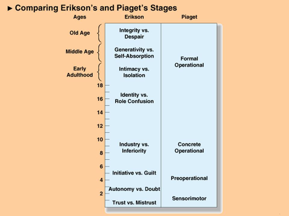 Erikson: Stages of Psychosocial Development ÎIdentity Versus Role Confusion (12 to 18 Years) ÏIntimacy Versus Isolation (Young Adult) ÐGenerativity Versus Self-Absorption (Middle Adult) ÑIntegrity Versus Despair (Late Adult)