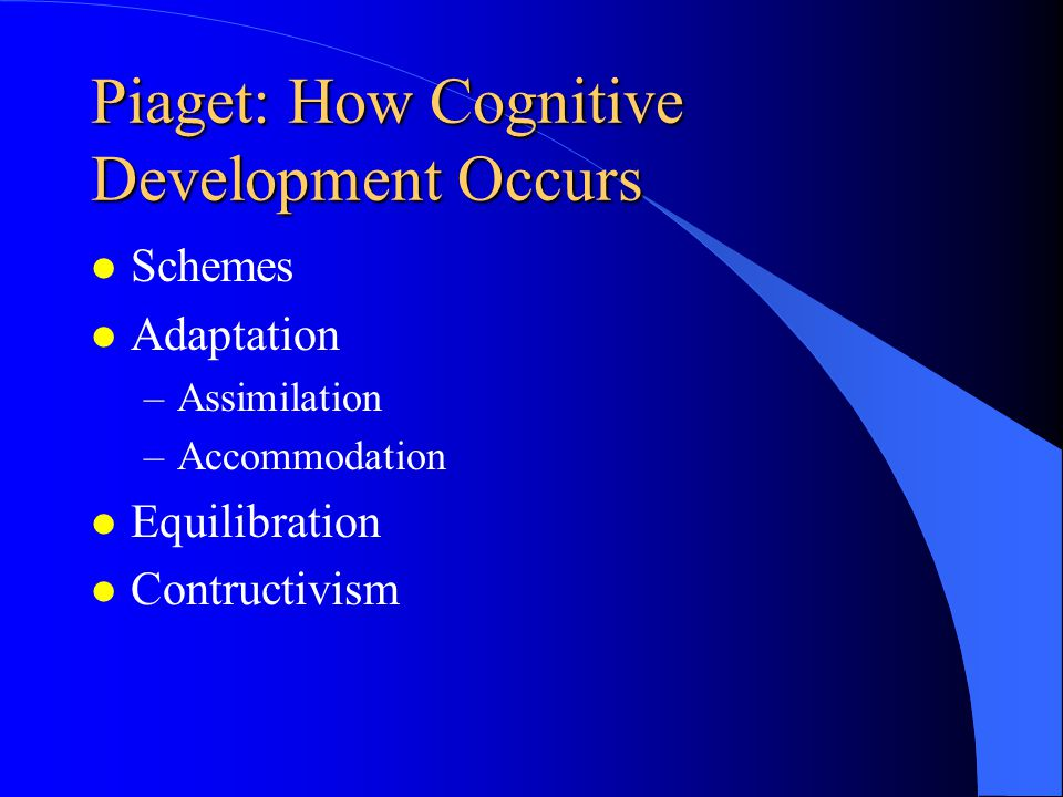 Issues of Development l Does Cognitive Development Fall Within the Domain of the Classroom Teacher