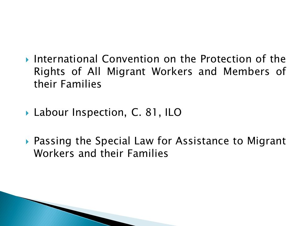  International Convention on the Protection of the Rights of All Migrant Workers and Members of their Families  Labour Inspection, C.