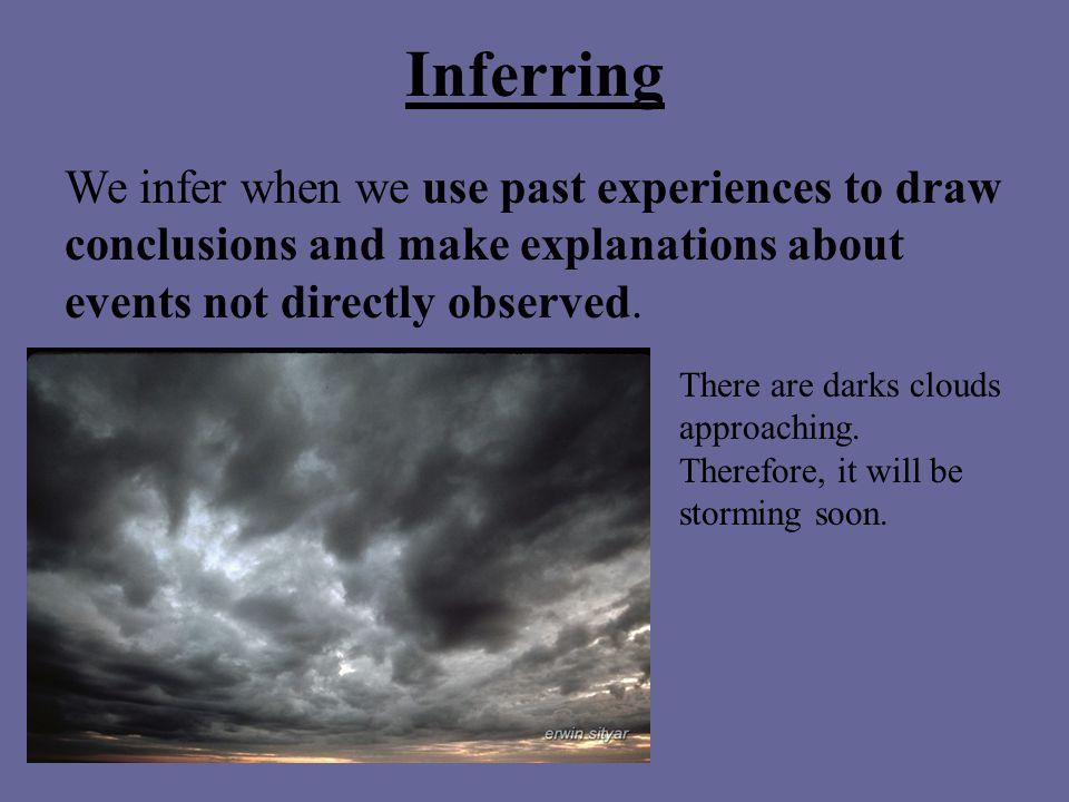 Inferring We infer when we use past experiences to draw conclusions and make explanations about events not directly observed.