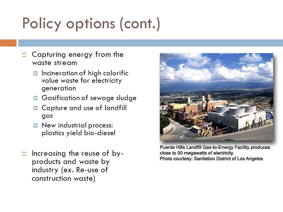 Policy options (cont.)  Capturing energy from the waste stream  Incineration of high calorific value waste for electricity generation  Gasification of sewage sludge  Capture and use of landfill gas  New industrial process: plastics yield bio-diesel  Increasing the reuse of by- products and waste by industry (ex.
