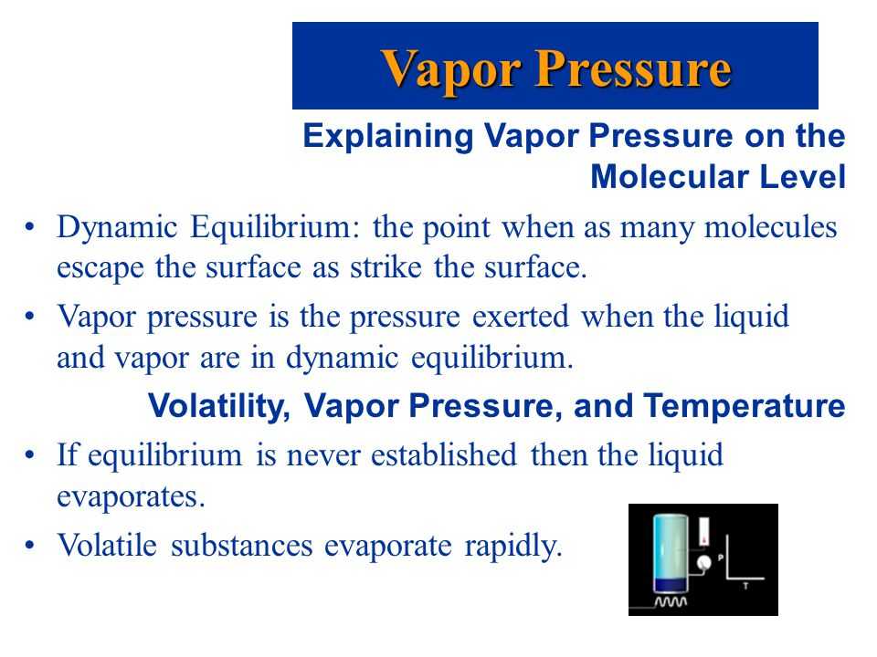 Explaining Vapor Pressure on the Molecular Level Dynamic Equilibrium: the point when as many molecules escape the surface as strike the surface.