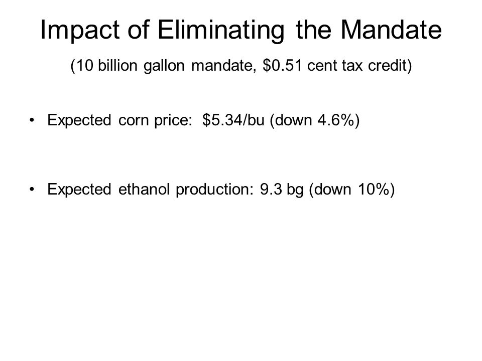 Impact of Eliminating the Mandate (10 billion gallon mandate, $0.51 cent tax credit) Expected corn price: $5.34/bu (down 4.6%) Expected ethanol production: 9.3 bg (down 10%)