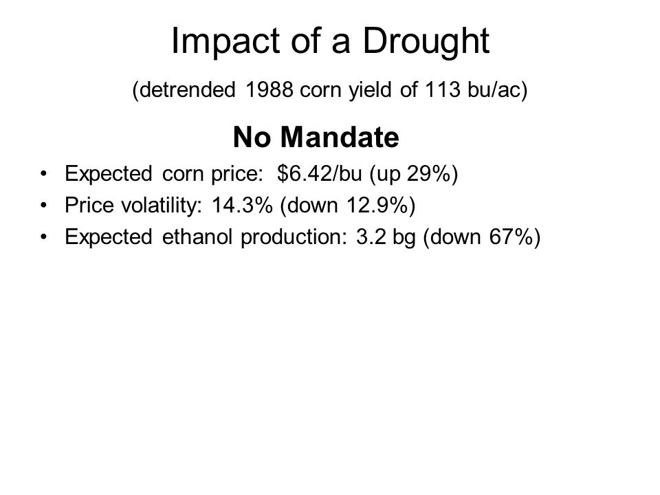 Impact of a Drought (detrended 1988 corn yield of 113 bu/ac) No Mandate Expected corn price: $6.42/bu (up 29%) Price volatility: 14.3% (down 12.9%) Expected ethanol production: 3.2 bg (down 67%)