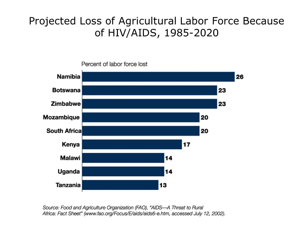 Projected Loss of Agricultural Labor Force Because of HIV/AIDS,