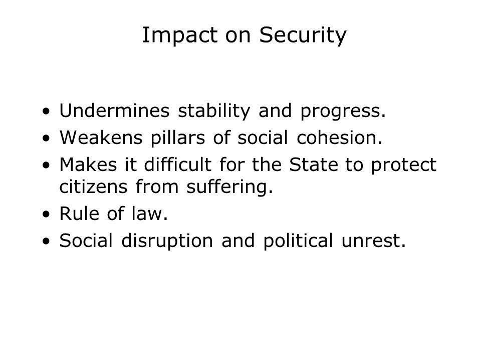 Impact on Security Undermines stability and progress.
