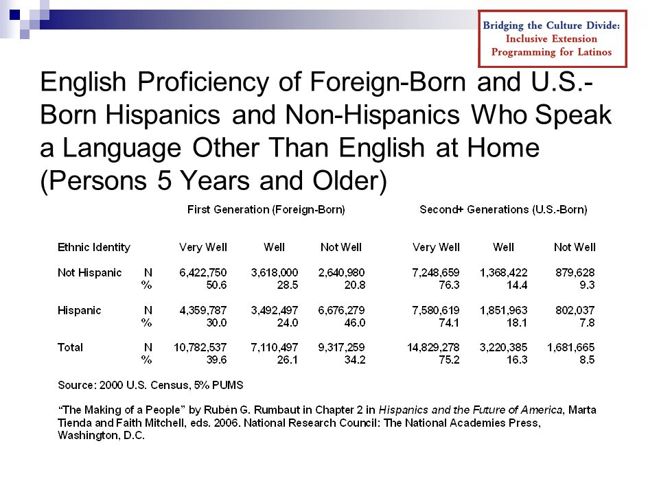 English Proficiency of Foreign-Born and U.S.- Born Hispanics and Non-Hispanics Who Speak a Language Other Than English at Home (Persons 5 Years and Older)
