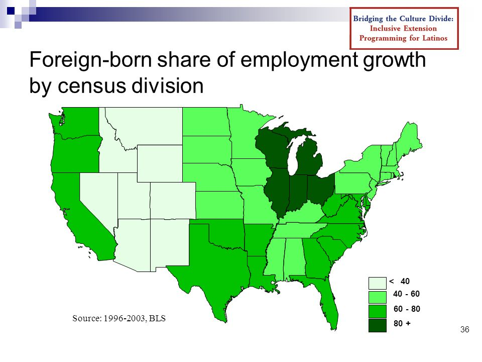 36 Foreign-born share of employment growth by census division < Source: , BLS
