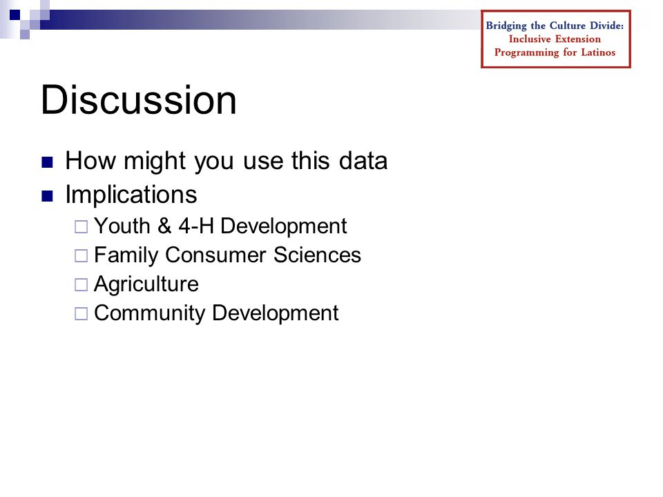 Discussion How might you use this data Implications  Youth & 4-H Development  Family Consumer Sciences  Agriculture  Community Development