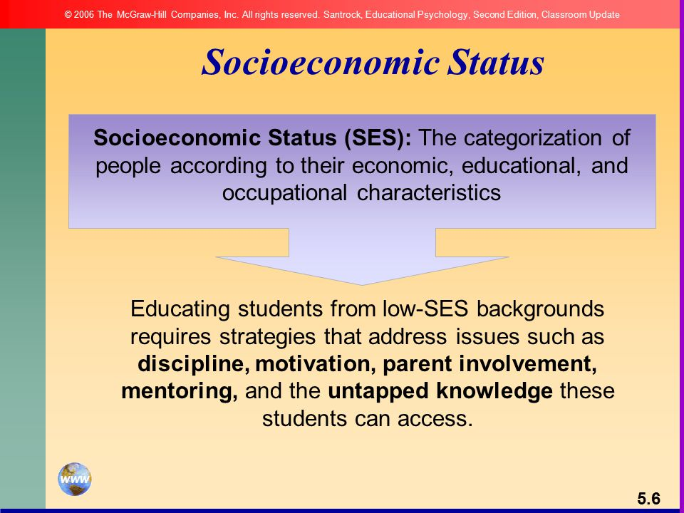 Socioeconomic Status (SES): The categorization of people according to their economic, educational, and occupational characteristics Socioeconomic Status Educating students from low-SES backgrounds requires strategies that address issues such as discipline, motivation, parent involvement, mentoring, and the untapped knowledge these students can access.