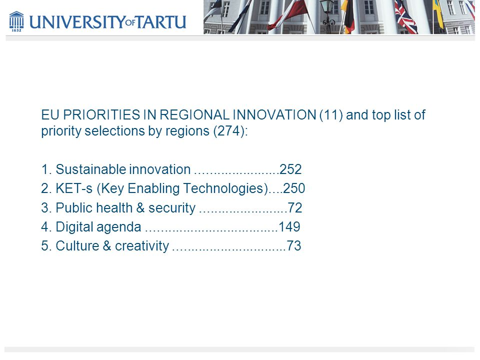 EU PRIORITIES IN REGIONAL INNOVATION (11) and top list of priority selections by regions (274): 1.
