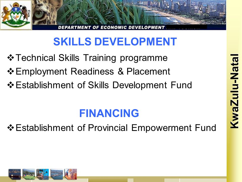 Kwa Zulu Natal KwaZulu-Natal SKILLS DEVELOPMENT  Technical Skills Training programme  Employment Readiness & Placement  Establishment of Skills Development Fund FINANCING  Establishment of Provincial Empowerment Fund