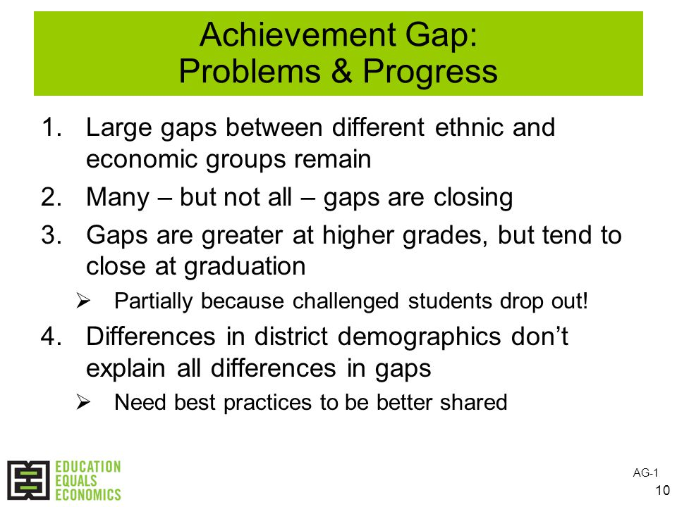 10 Achievement Gap: Problems & Progress 1.Large gaps between different ethnic and economic groups remain 2.Many – but not all – gaps are closing 3.Gaps are greater at higher grades, but tend to close at graduation  Partially because challenged students drop out.