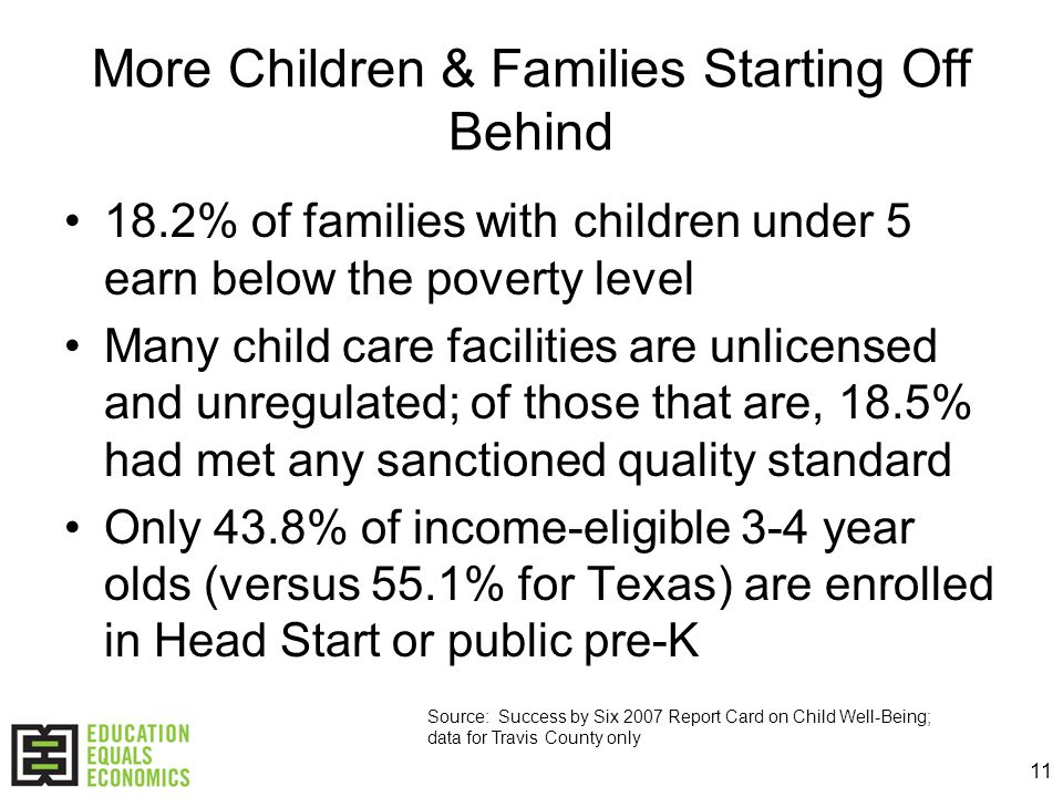 11 More Children & Families Starting Off Behind 18.2% of families with children under 5 earn below the poverty level Many child care facilities are unlicensed and unregulated; of those that are, 18.5% had met any sanctioned quality standard Only 43.8% of income-eligible 3-4 year olds (versus 55.1% for Texas) are enrolled in Head Start or public pre-K Source: Success by Six 2007 Report Card on Child Well-Being; data for Travis County only
