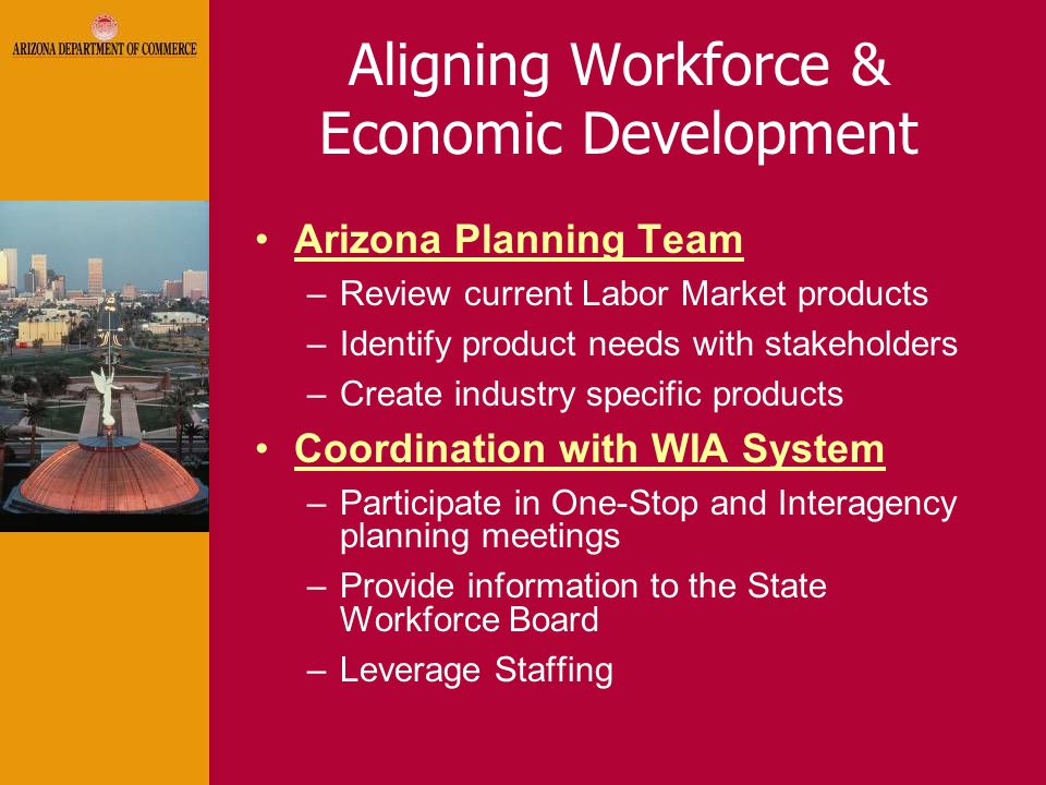 Aligning Workforce & Economic Development Arizona Planning Team –Review current Labor Market products –Identify product needs with stakeholders –Create industry specific products Coordination with WIA System –Participate in One-Stop and Interagency planning meetings –Provide information to the State Workforce Board –Leverage Staffing