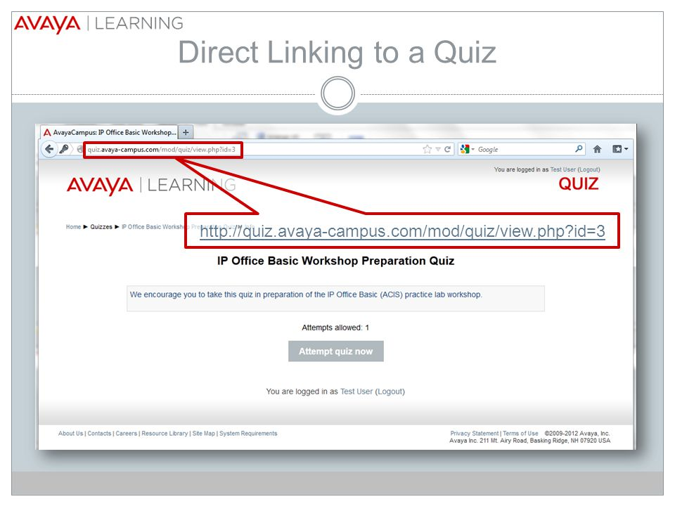 Direct Linking to a Quiz   id=3