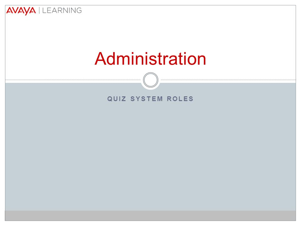 QUIZ SYSTEM ROLES Administration