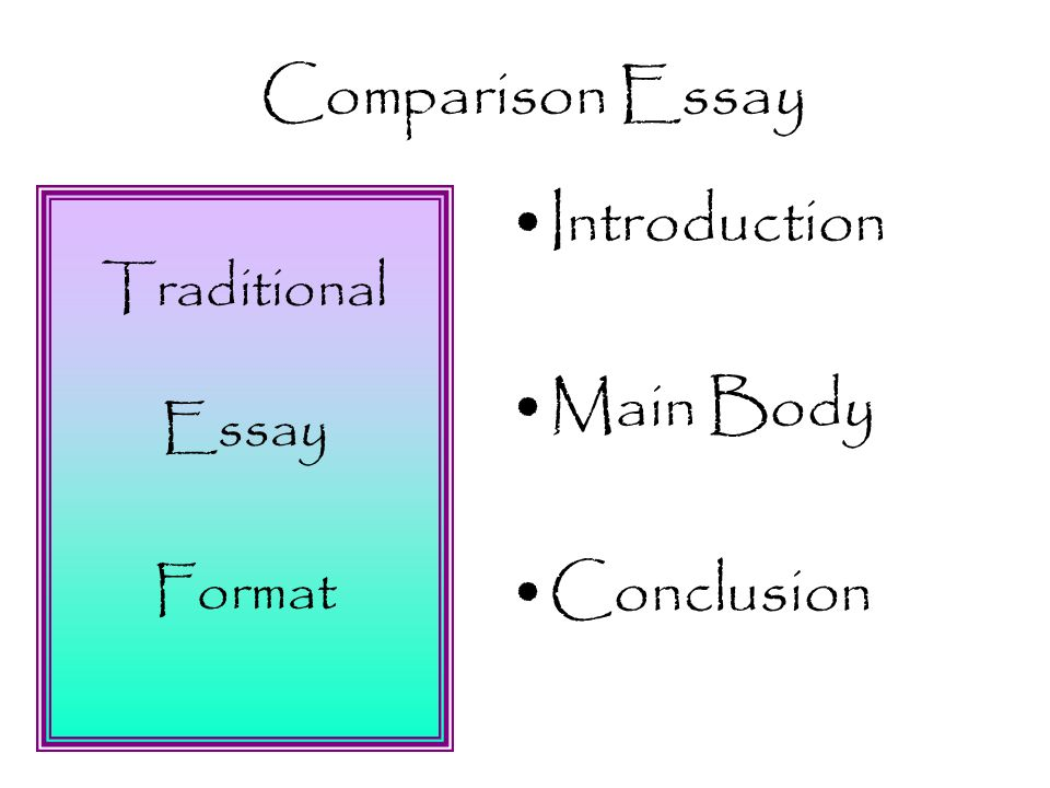 Name  Rubric  Comparison Essay Tasks Points  Points    Traditional Essay Format Introduction Main Body Conclusion Comparison  Essay