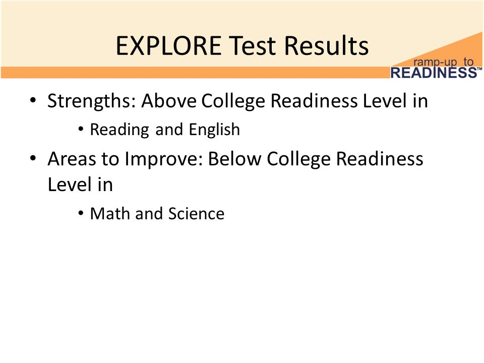 EXPLORE Test Results Strengths: Above College Readiness Level in Reading and English Areas to Improve: Below College Readiness Level in Math and Science