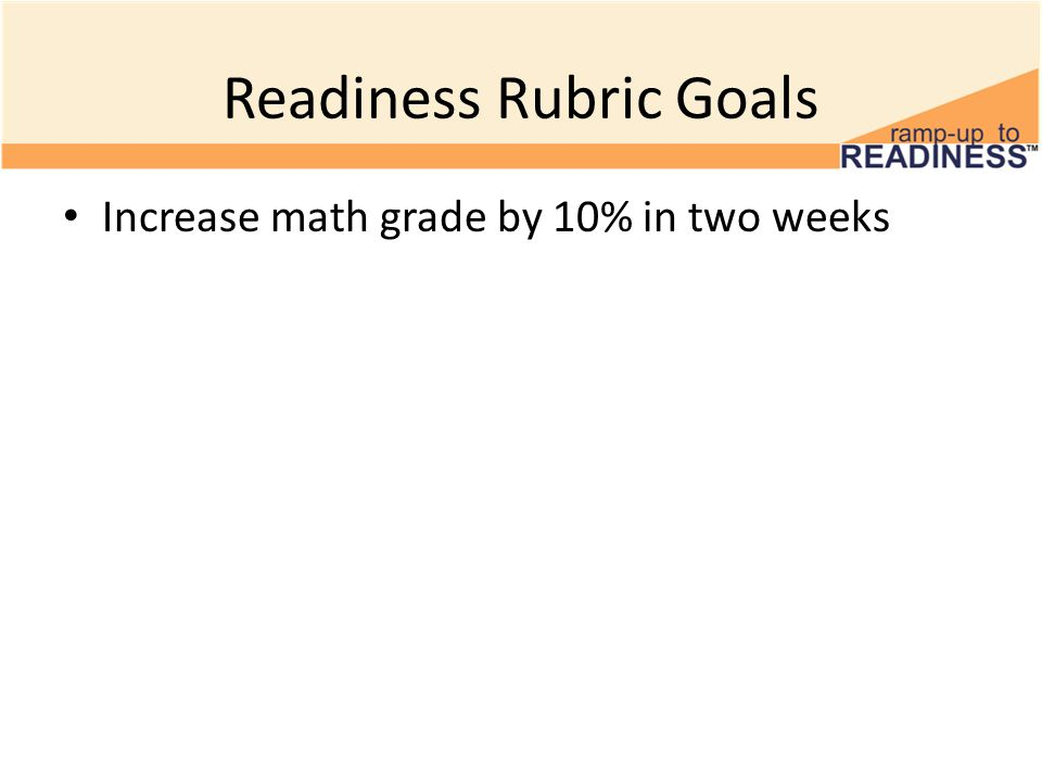 Readiness Rubric Goals Increase math grade by 10% in two weeks