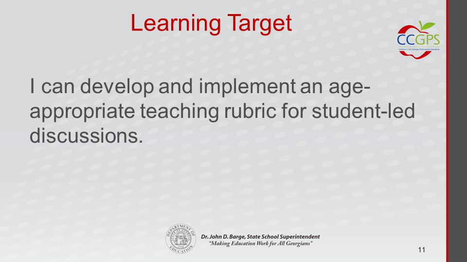 Learning Target I can develop and implement an age- appropriate teaching rubric for student-led discussions.