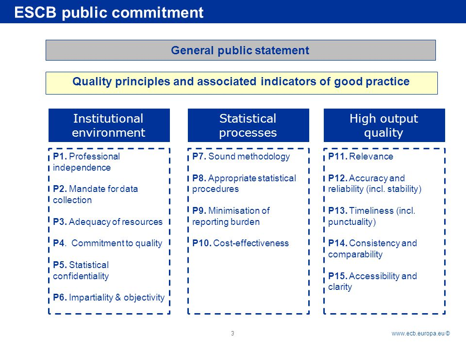 Rubric   © 3 General public statement Quality principles and associated indicators of good practice ESCB public commitment P1.