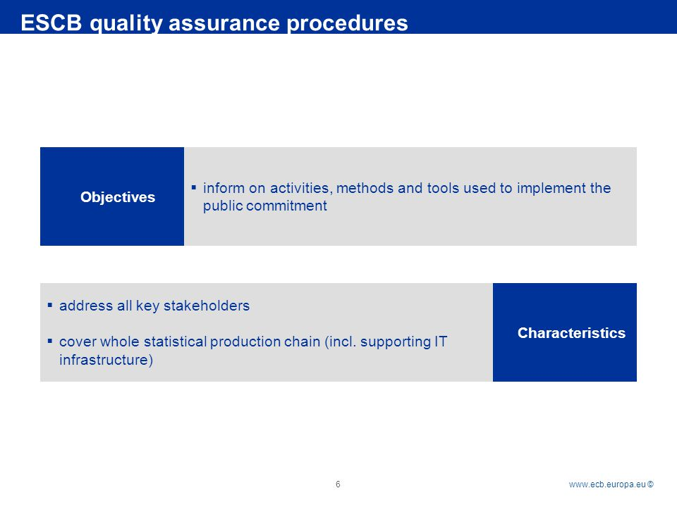 Rubric   © 6 ESCB quality assurance procedures Objectives Characteristics  inform on activities, methods and tools used to implement the public commitment  address all key stakeholders  cover whole statistical production chain (incl.