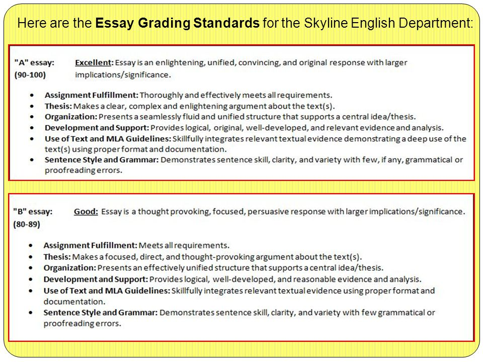 Here are the Essay Grading Standards for the Skyline English Department:
