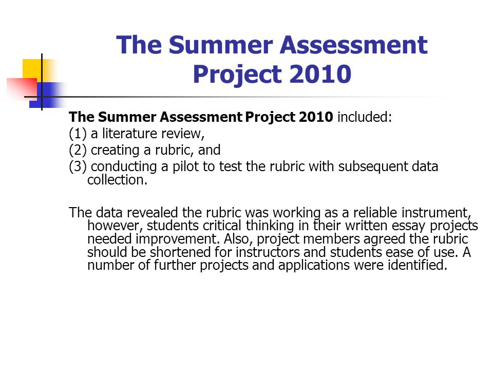 The Summer Assessment Project 2010 The Summer Assessment Project 2010 included: (1) a literature review, (2) creating a rubric, and (3) conducting a pilot to test the rubric with subsequent data collection.
