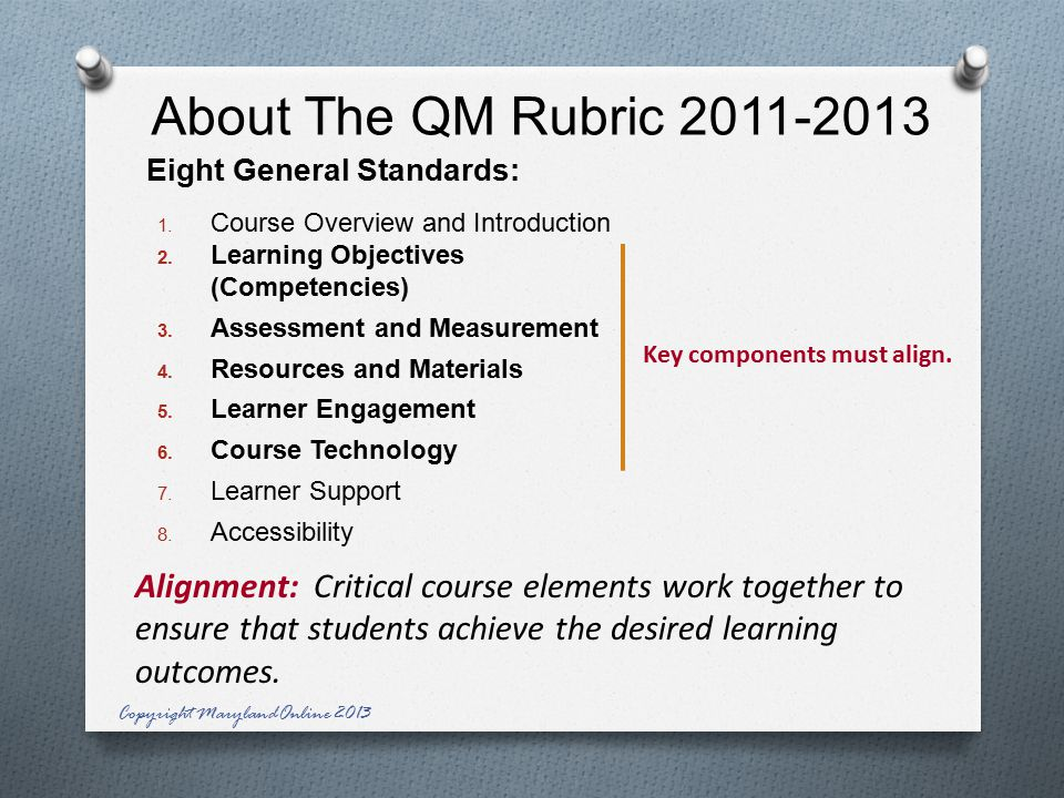 About The QM Rubric Eight General Standards: 1.