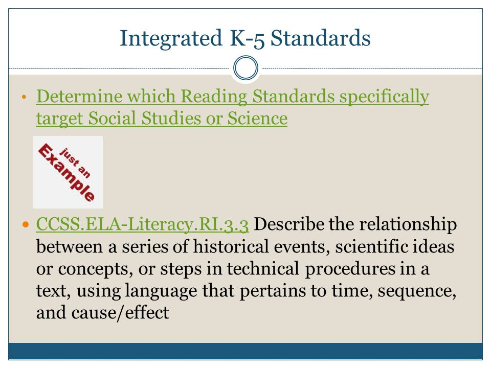 Integrated K-5 Standards Determine which Reading Standards specifically target Social Studies or Science Determine which Reading Standards specifically target Social Studies or Science CCSS.ELA-Literacy.RI.3.3 Describe the relationship between a series of historical events, scientific ideas or concepts, or steps in technical procedures in a text, using language that pertains to time, sequence, and cause/effect CCSS.ELA-Literacy.RI.3.3