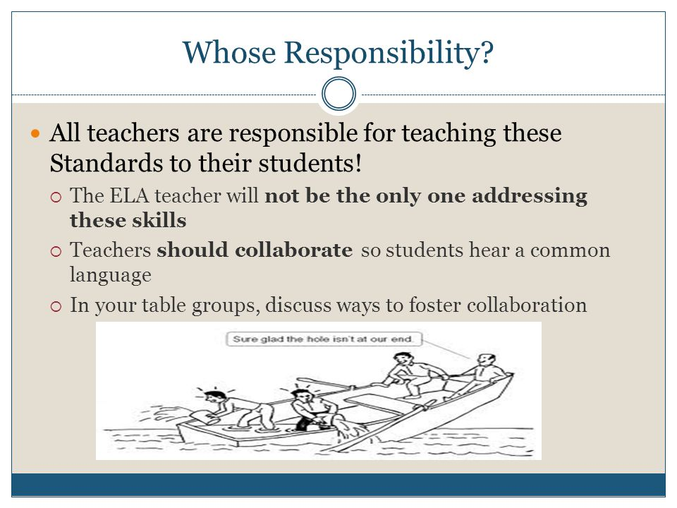 Whose Responsibility. All teachers are responsible for teaching these Standards to their students.