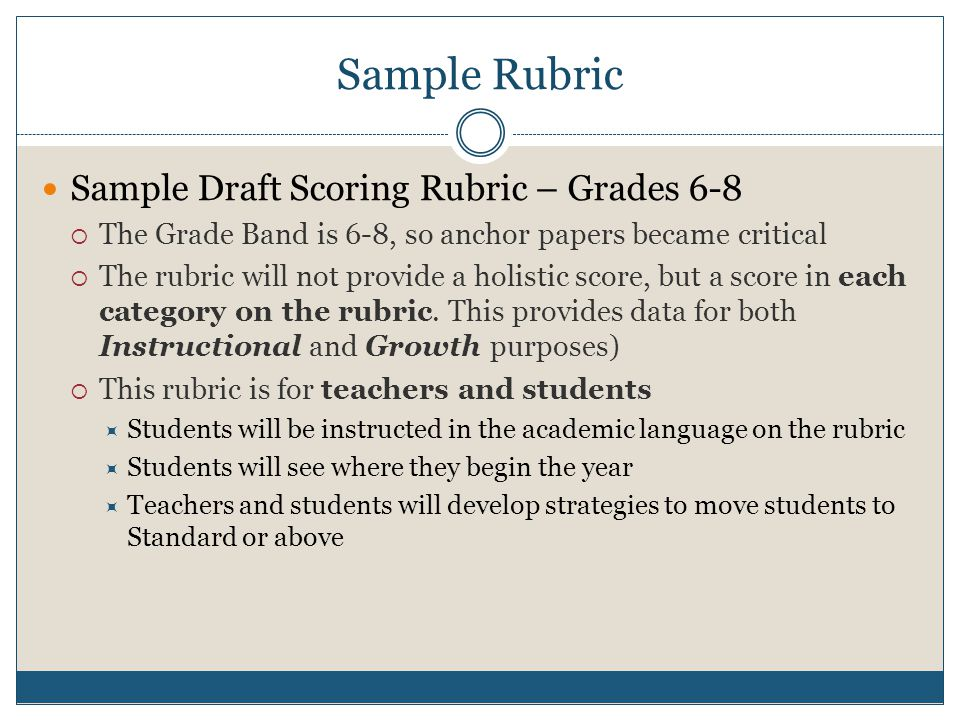 Sample Rubric Sample Draft Scoring Rubric – Grades 6-8  The Grade Band is 6-8, so anchor papers became critical  The rubric will not provide a holistic score, but a score in each category on the rubric.