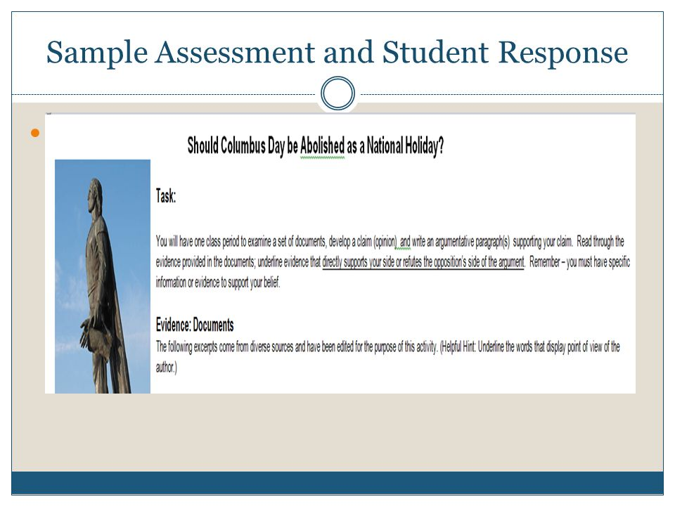 Sample Assessment and Student Response This was based on a middle school
