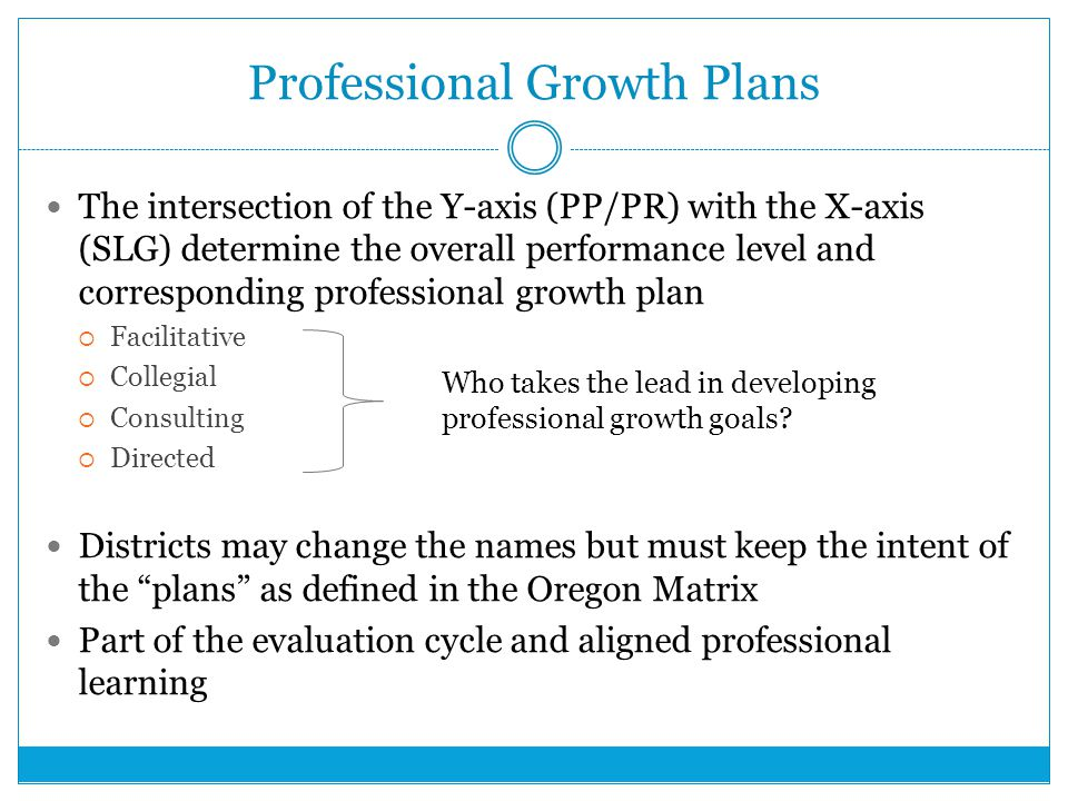 Professional Growth Plans The intersection of the Y-axis (PP/PR) with the X-axis (SLG) determine the overall performance level and corresponding professional growth plan  Facilitative  Collegial  Consulting  Directed Districts may change the names but must keep the intent of the plans as defined in the Oregon Matrix Part of the evaluation cycle and aligned professional learning Who takes the lead in developing professional growth goals