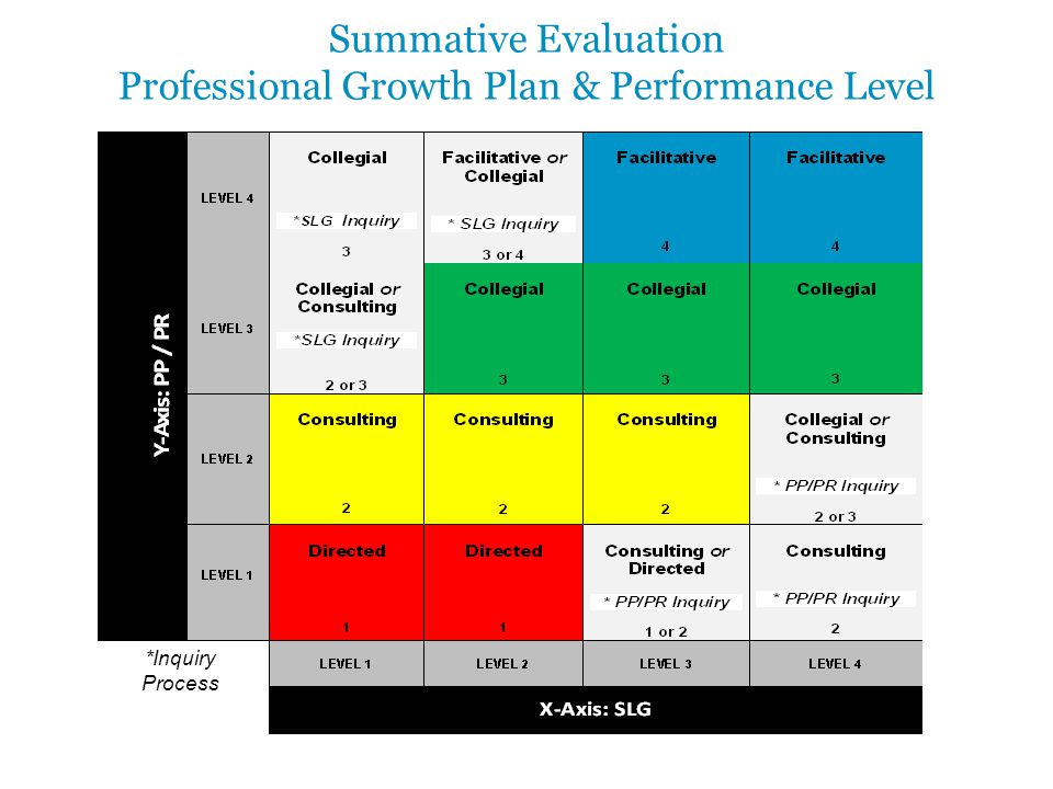 Summative Evaluation Professional Growth Plan & Performance Level *Inquiry Process