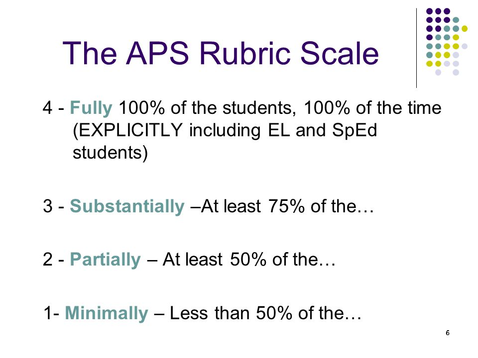 6 6 The APS Rubric Scale 4 - Fully 100% of the students, 100% of the time (EXPLICITLY including EL and SpEd students) 3 - Substantially –At least 75% of the… 2 - Partially – At least 50% of the… 1- Minimally – Less than 50% of the…