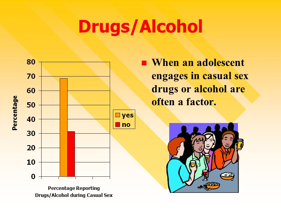 Drugs/Alcohol When an adolescent engages in casual sex drugs or alcohol are often a factor.