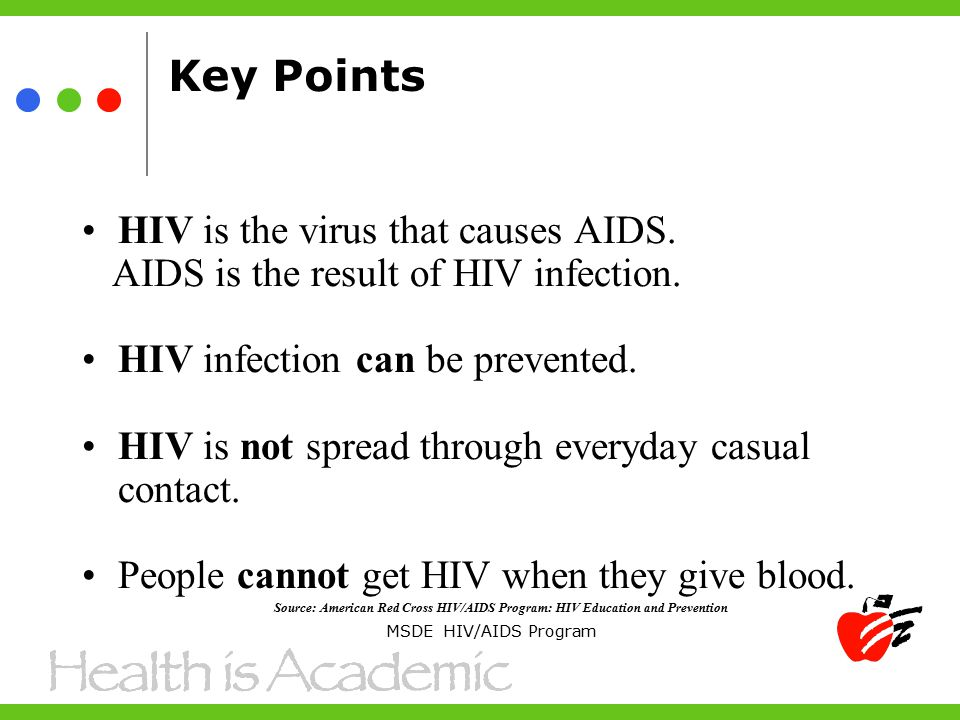 Key Points HIV is the virus that causes AIDS. AIDS is the result of HIV infection.
