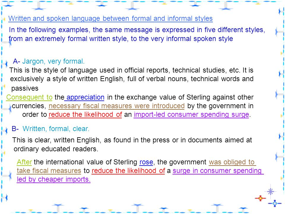 formal written english examples